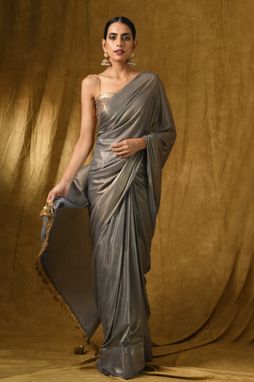 Grey Gold Chiffon Saree With Lace & Pendant on Ends