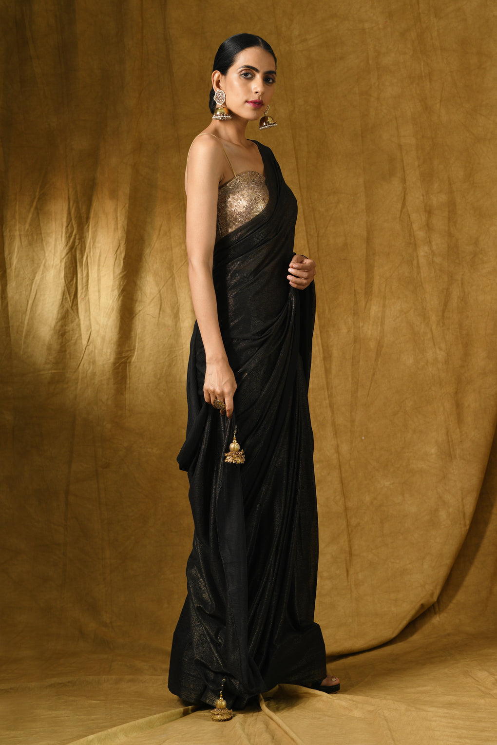 Black Gold Chiffon Saree with Gold Pendants