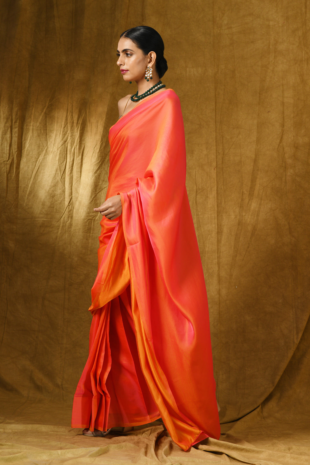 Pink & Orange Paradise Satin Saree