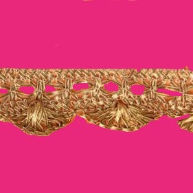 Pink with Gold Border Saree with Lace on End