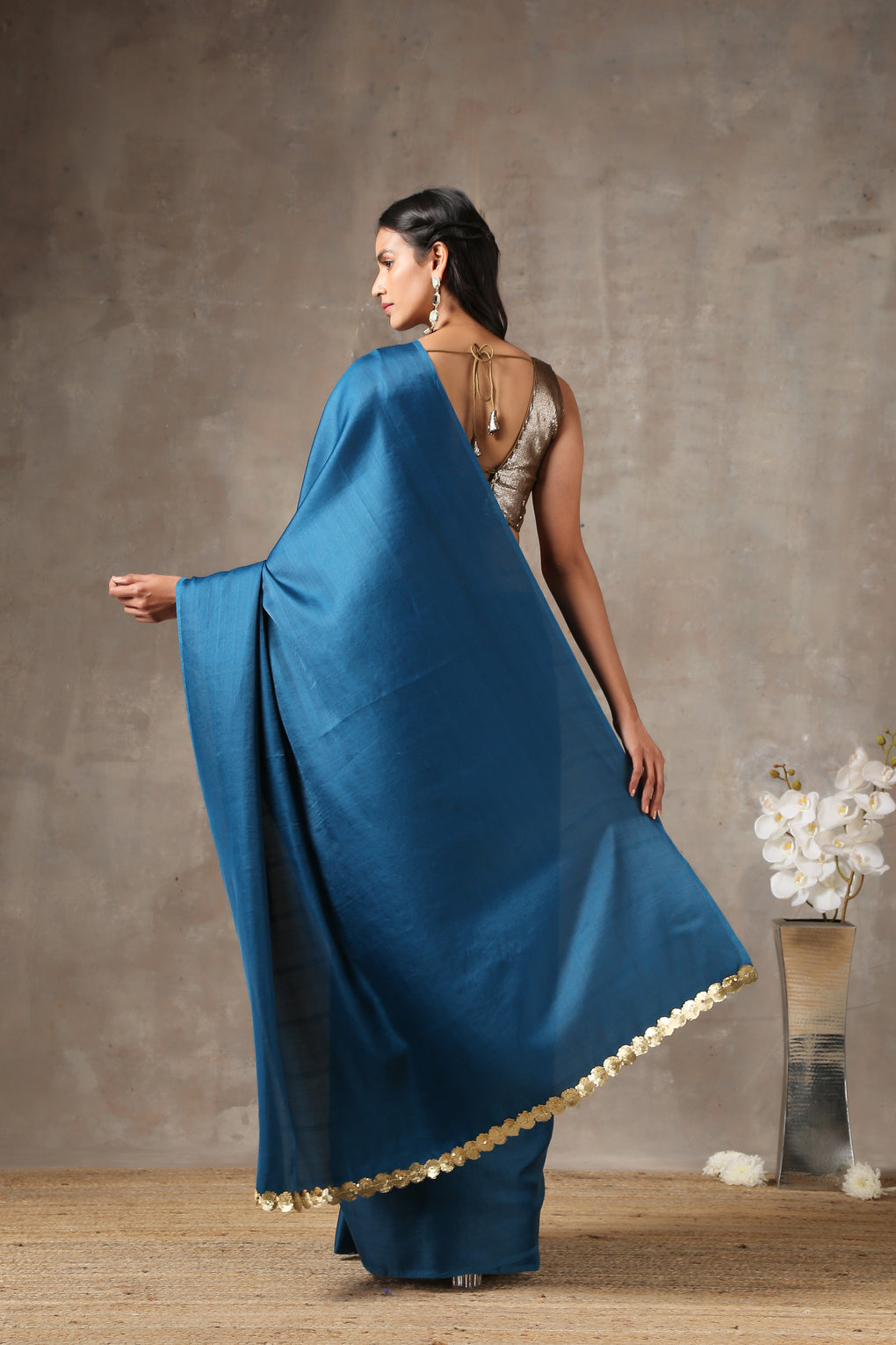 Royal Navy Saree with lace on edge