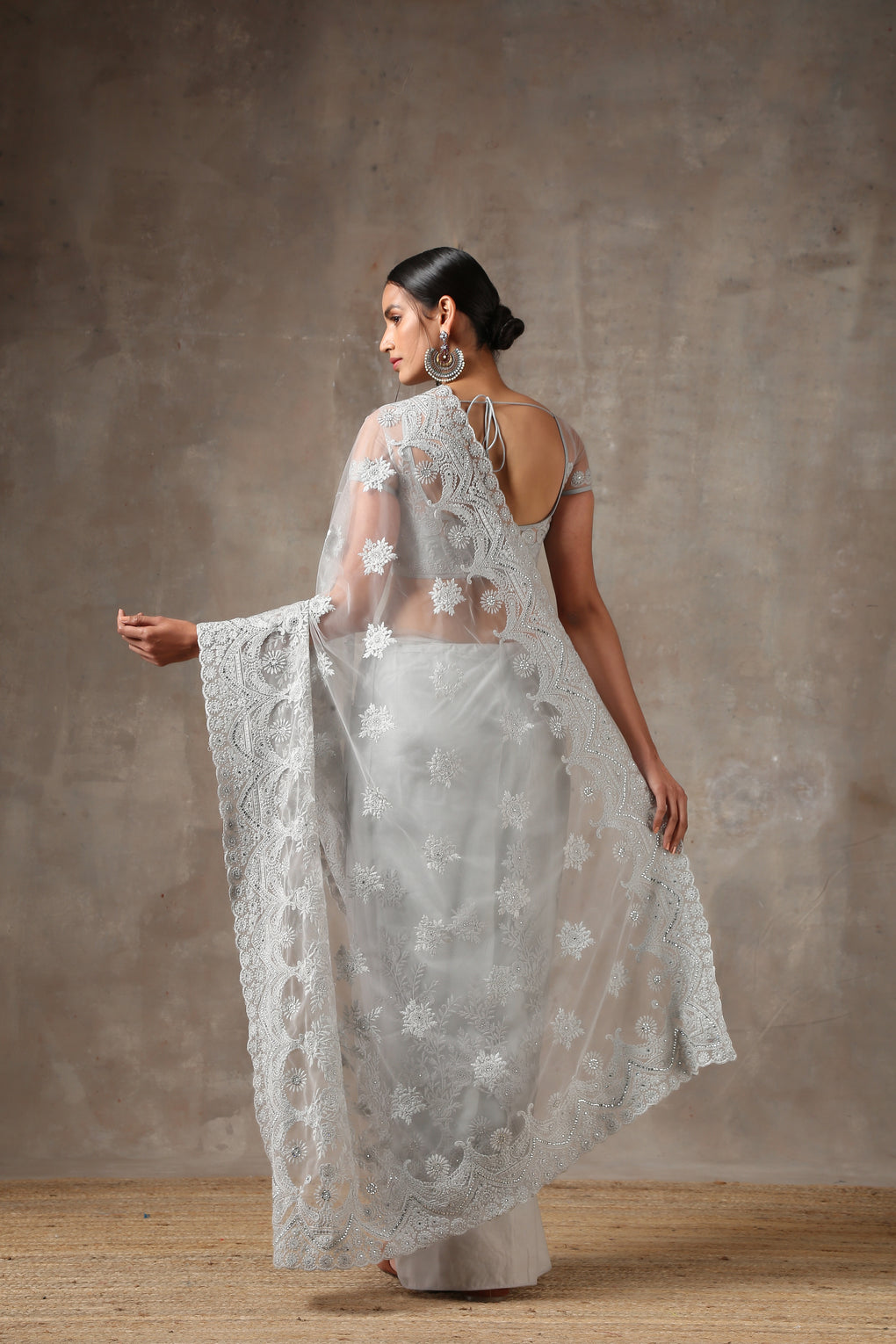 Grey Net Saree with Embroidery & Scalloping