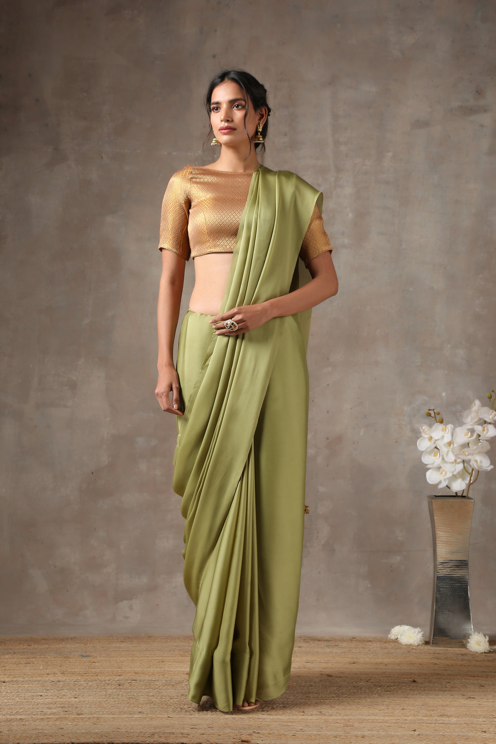 Sage Angel Satin Saree with Gold Pendants