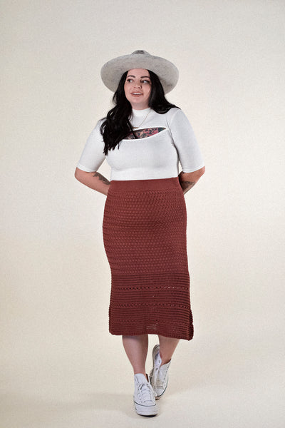 YOU + ME CROCHET MIDI SKIRT IN RUST