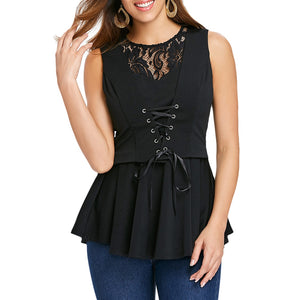 Sleeveless Lace-up A-line Women Top