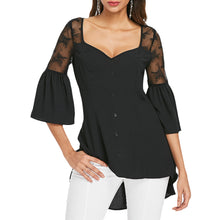 Load image into Gallery viewer, Sweetheart Neck Bell Sleeve Women Blouse