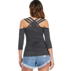 Three Quarter Sleeve Cut Out Back T-shirt