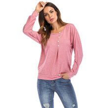 Load image into Gallery viewer, Round Collar Long Sleeve Button Loose Women T-shirt