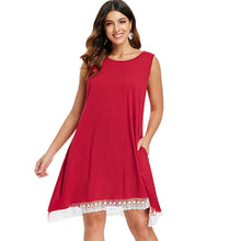 Load image into Gallery viewer, Sleeveless Lace Hemline Shift Dress