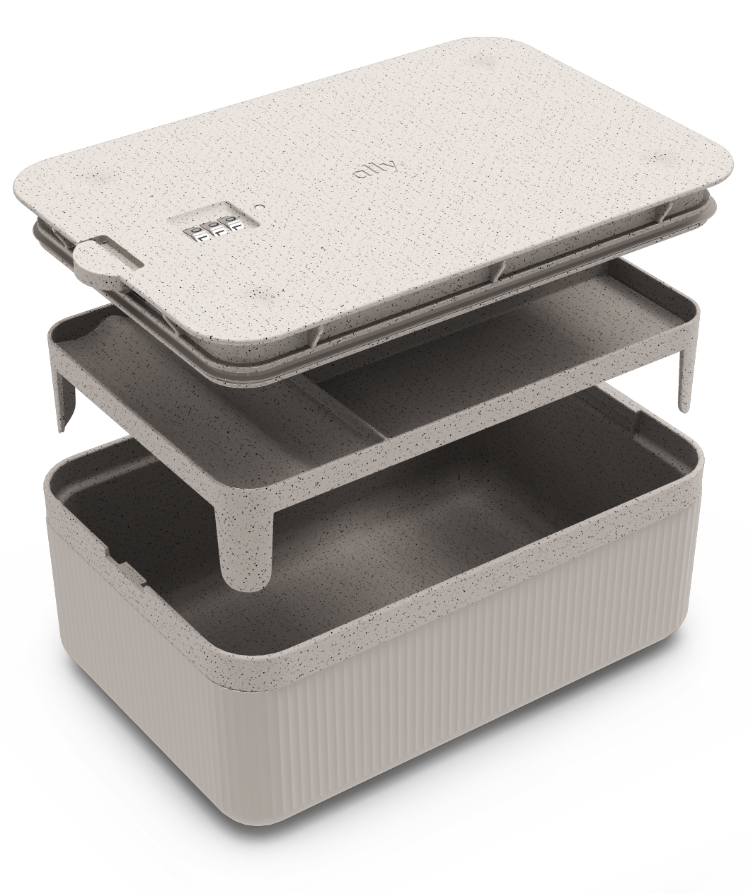 Ally box in cream, completely open to show lid, removable tray and base container