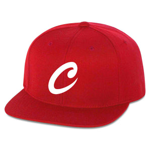 Carl 6 Panel Snapback Hat - Wht on Red - DISCOUNTED ITEM