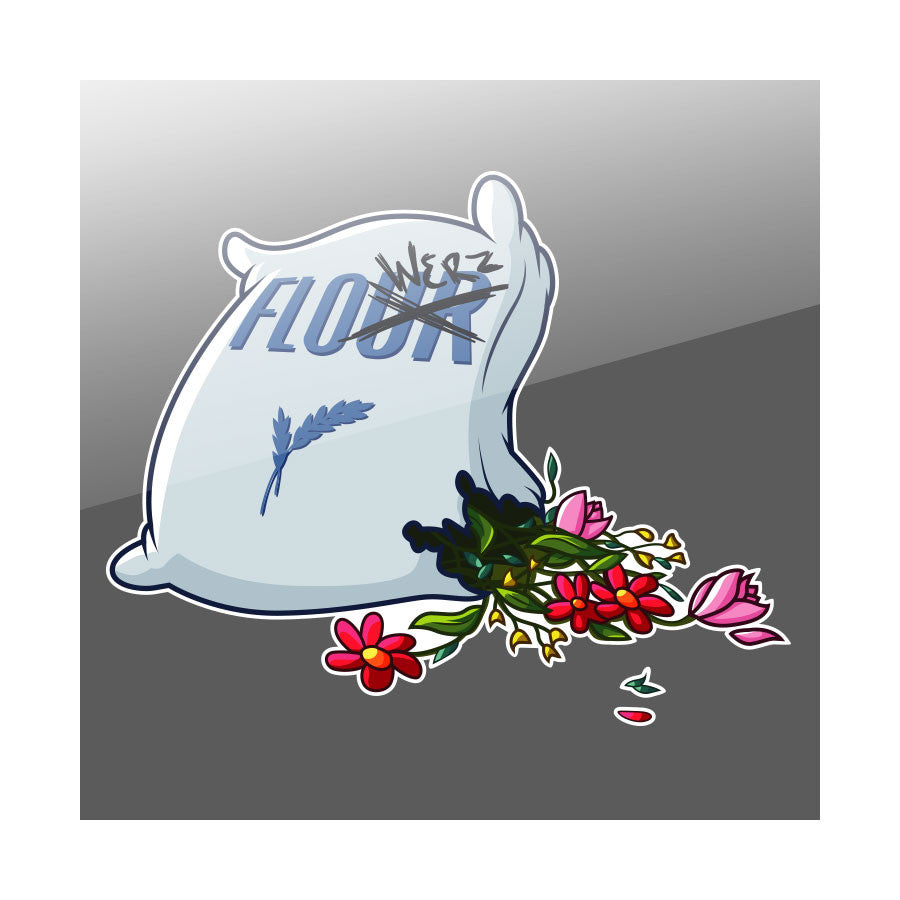"Flowers SackOFlowerz 7"" Vinyl Sticker"