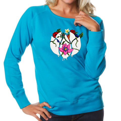 Flowers Icon FX Girls Crewneck - Aqua