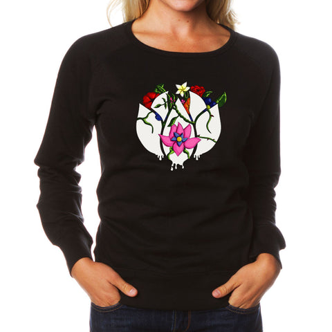 Flowers Icon FX Girls Crewneck - Blk