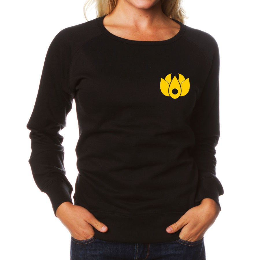 Flowers Icon Heart Girls Crewneck - Yel on Blk