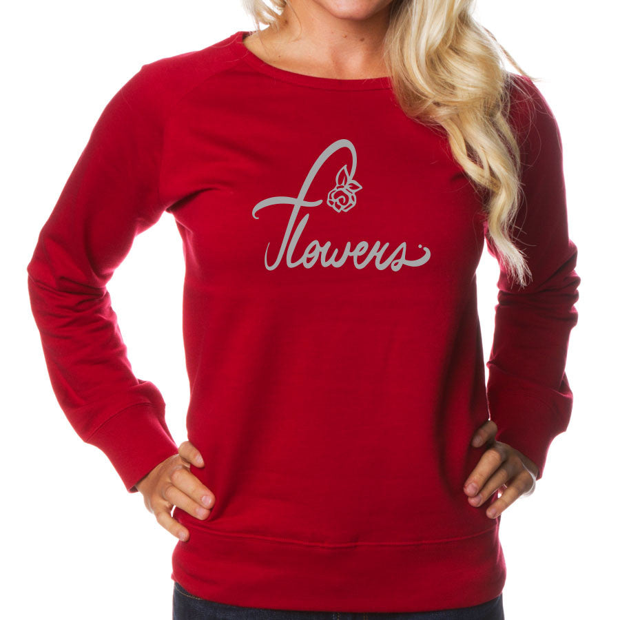 Flowers Signature Girls Crewneck - Gry on Red