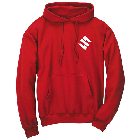 Slacked Icon Hoodie - Wht on Red
