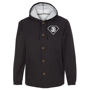 JEric Diamond Hooded Coaches Jacket - Wht on Blk