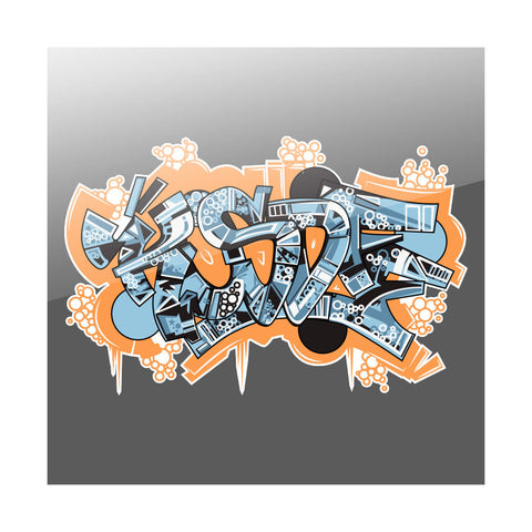 "KOSDFF 7"" Vinyl Sticker - Graffiti OrgBlu"