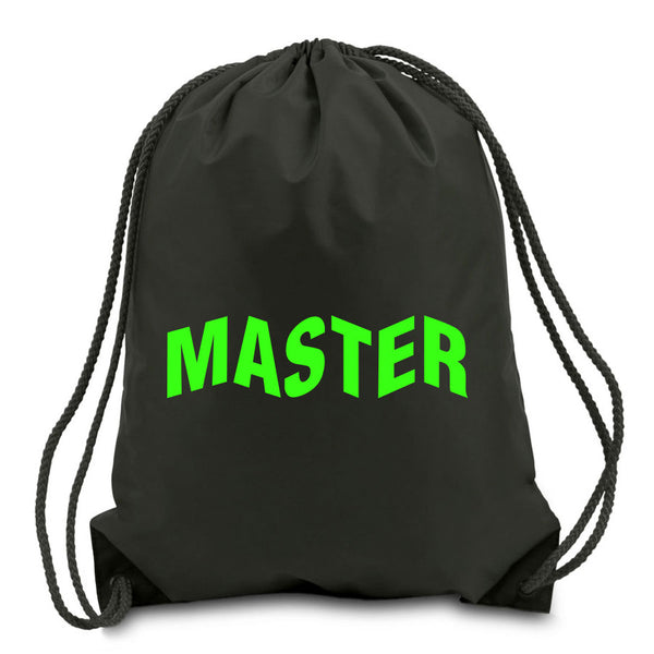 Master of Luck Logo Cinch Bag - Grn on Blk