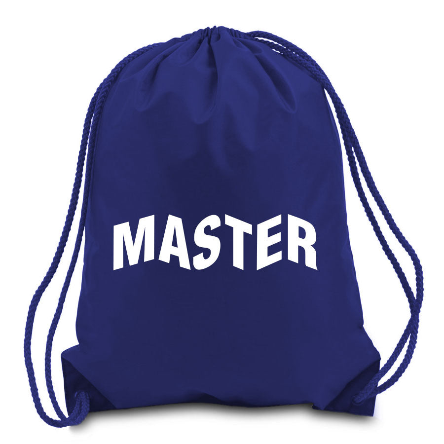 Master of Luck Logo Cinch Bag - Wht on Nvy