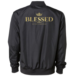 Mocha Blessed Bomber Jacket - Gld on Blk