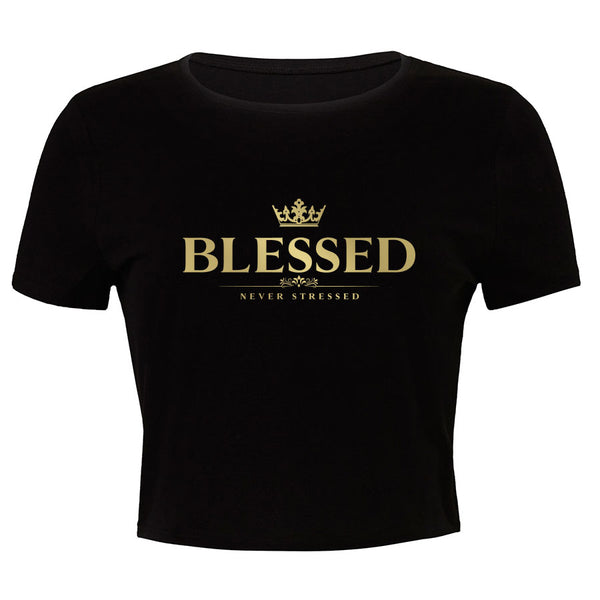 Mocha Blessed Girls Crop Tee
