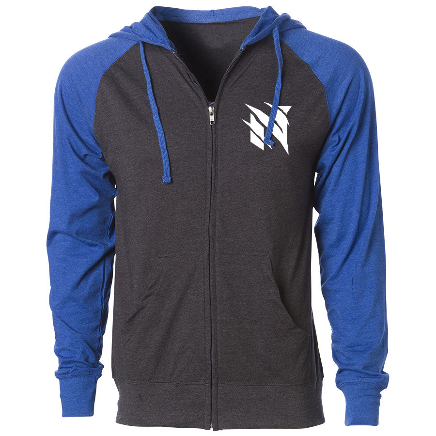 Neslo Icon Heart Lightweight Raglan Zip Up Hoodie