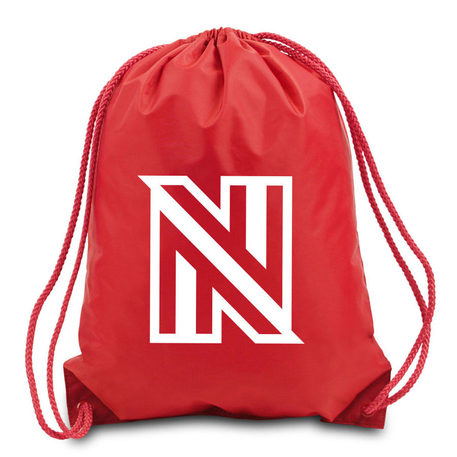 NuFo Icon Cinch Bag - Wht on Red
