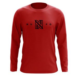 NuFo Logo Long Sleeve - Blk on Red