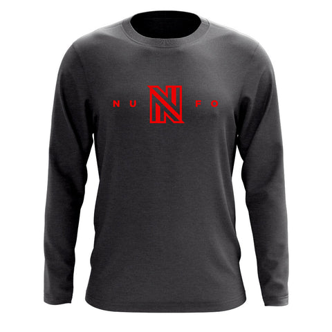 NuFo Logo Long Sleeve - Red on Chcl