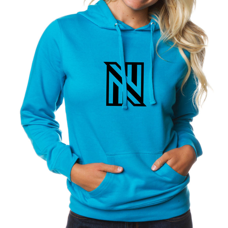 NuFo Icon Girls Hoodie - Blk on Aqua