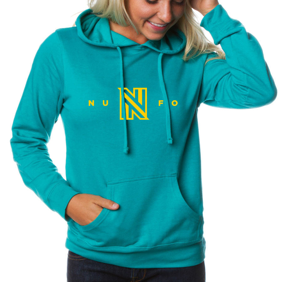 NuFo Logo Girls Hoodie - Yel on Teal