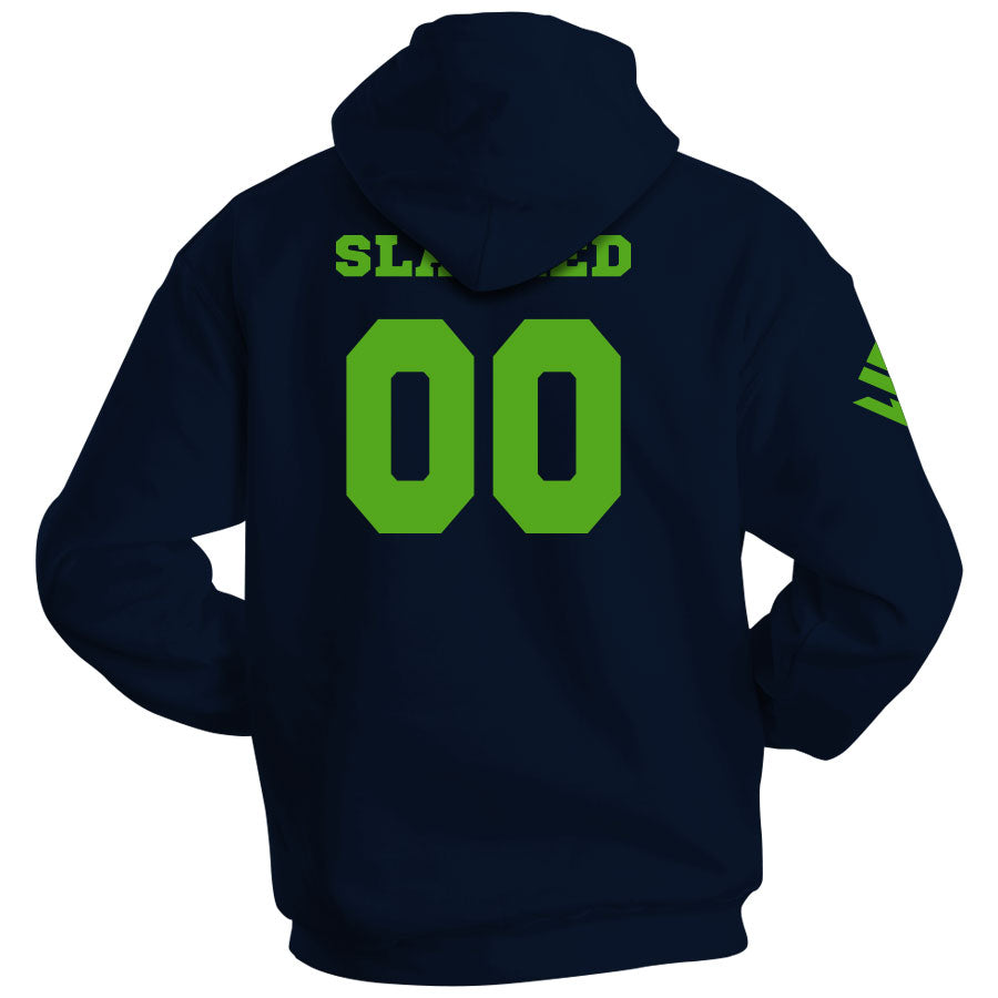 Slacked Outline Hoodie - Grn on Nvy