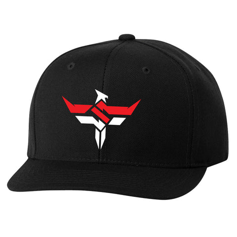 Slacked Phoenix 6 Panel Snapback Hat - RedWht on Blk
