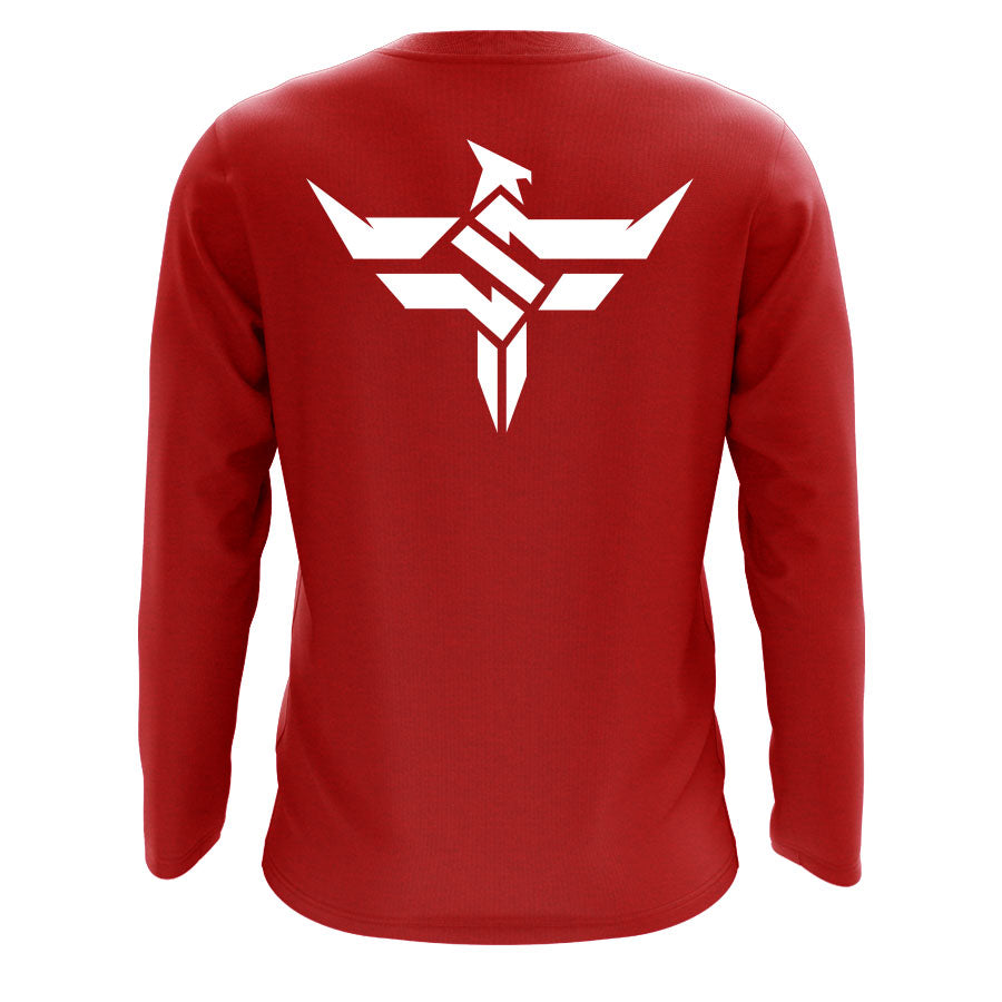 Slacked Icon Heart Long Sleeve - Wht on Red