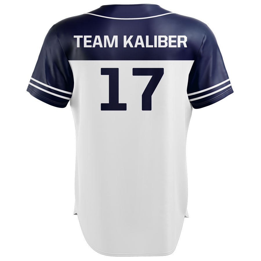 Team Kaliber Premium Label Baseball Jersey - DNvy on NvyWht