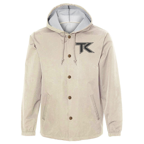 Team Kaliber Icon Hooded Coaches Jacket - DGry on Khaki - DISCOUNTED ITEM