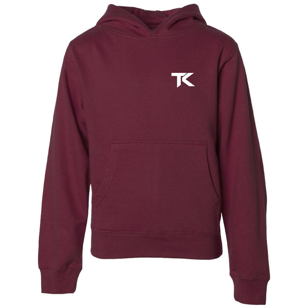 Team Kaliber TK Heart Youth Hoodie - Wht on Mrn - DISCOUNTED ITEM
