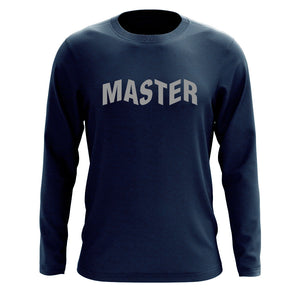 Master of Luck Logo Long Sleeve - Gry on Nvy