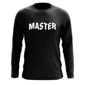 Master of Luck Logo Long Sleeve - Wht on Blk