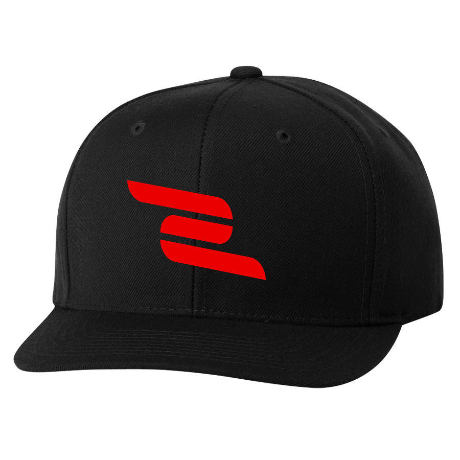 ZooMaa 6 Panel Snapback Hat - Red on Blk