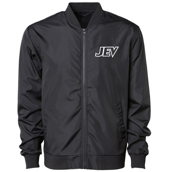 Jev Logo Bomber Jacket - Wht on Blk