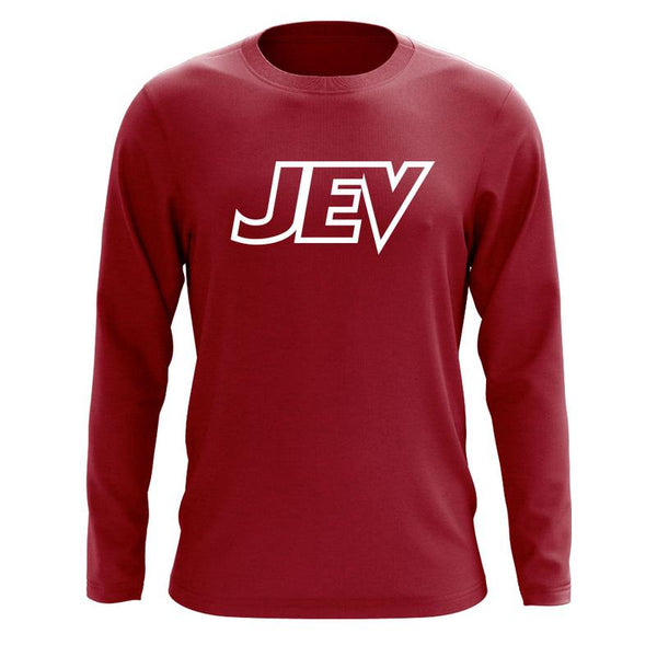 Jev Logo Long Sleeve - Wht on Crdnl - DISCOUNTED ITEM