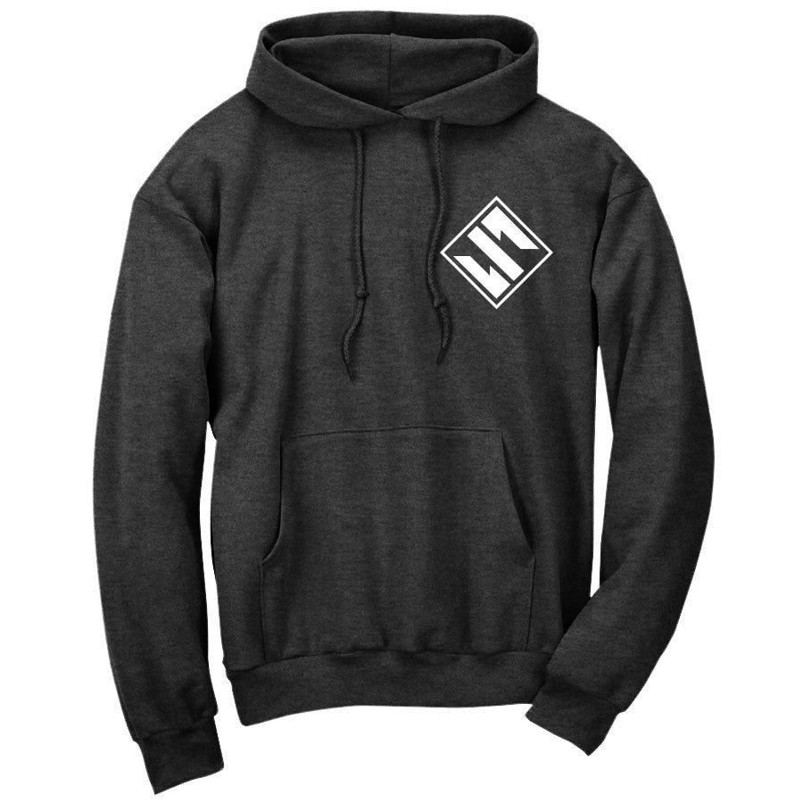 Slacked Diamond Hoodie - Wht on ChclHthr