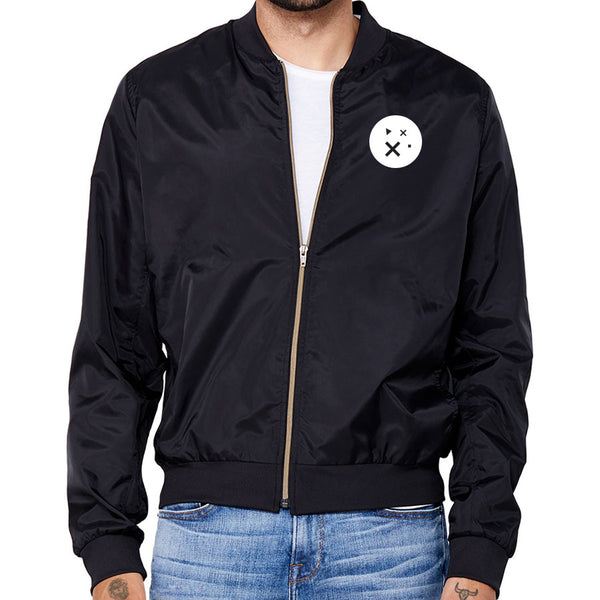 Sparkd Icon Heart Bomber Jacket - Wht on Blk