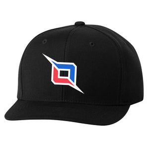Octane 6 Panel Snapback Hat - WhtBluRed on Blk