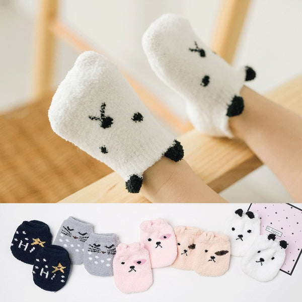 Non-slip Baby Socks Autumn Winter Coral Fleece Socks Warm Toddler Boy Girls Floor Socks Infant Clothing Accessories Thicken