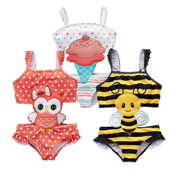 2019 Kavkas Girls Swimwear Cute Kids Swimsuit Infant 12M-8T Kid Baby Girls Bikini Ruffles Swimsuits One Pieces Bath Swimwear