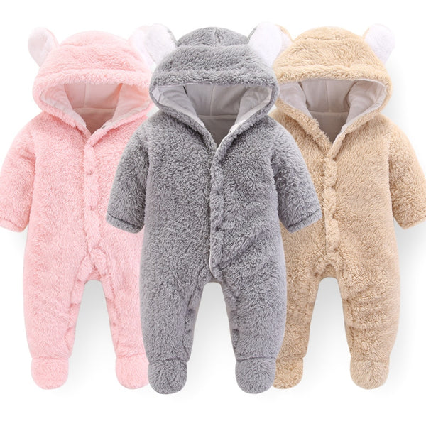 2019 Autumn New Jumpsuit Newborn Baby Boys Girls Cartoon Polyester Clothes Infant Baby Winter Warm Outwear Hoodie Pajamas